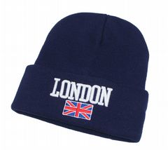 LONDON embroidred with flag winter beanie hat girls thermal beanie hat HT282657